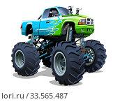 Купить «Vector Cartoon Monster Truck», иллюстрация № 33565487 (c) Александр Володин / Фотобанк Лори