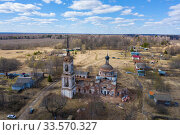 Купить «Dilapidated Church of the Assumption of the Blessed Virgin Mary in the village of Parkhachevo, Ivanovo Region, Russia», фото № 33570327, снято 12 апреля 2020 г. (c) Валерий Смирнов / Фотобанк Лори