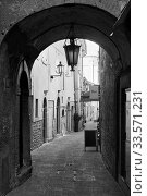 Купить «Old street with archway in San Marino», фото № 33571231, снято 28 февраля 2020 г. (c) Роман Сигаев / Фотобанк Лори
