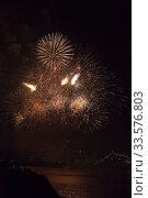 Купить «Праздничный салют в честь Дня ВМФ в городе герое Севастополе, Крым», фото № 33576803, снято 28 июля 2019 г. (c) Николай Мухорин / Фотобанк Лори