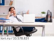 Купить «Young call center operator speaking on phone», фото № 33578831, снято 3 июля 2018 г. (c) Elnur / Фотобанк Лори