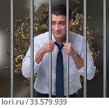 Businessman in prison for monetary fraud. Стоковое фото, фотограф Elnur / Фотобанк Лори