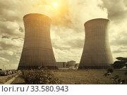 Купить «Cooling towers of Nuclear Power Plant», фото № 33580943, снято 11 октября 2018 г. (c) Яков Филимонов / Фотобанк Лори