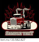 Купить «Vector Cartoon semi truck», иллюстрация № 33582827 (c) Александр Володин / Фотобанк Лори