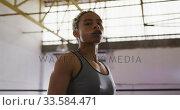 Fit mixed race woman in boxing gym. Стоковое видео, агентство Wavebreak Media / Фотобанк Лори