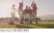 Купить «Baseball players celebrating after the match», видеоролик № 33587691, снято 25 ноября 2019 г. (c) Wavebreak Media / Фотобанк Лори