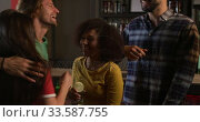 Купить «Friends at the bar in a pub dancing and having fun», видеоролик № 33587755, снято 15 ноября 2019 г. (c) Wavebreak Media / Фотобанк Лори