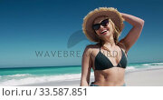 Купить «Woman enjoying free time on the beach», видеоролик № 33587851, снято 21 ноября 2019 г. (c) Wavebreak Media / Фотобанк Лори