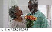 Купить «A senior African American man offering flowers to his wife», видеоролик № 33590075, снято 12 ноября 2019 г. (c) Wavebreak Media / Фотобанк Лори