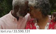 Купить «A senior african american couple spending time together in the garden in love social distancing in q», видеоролик № 33590131, снято 12 ноября 2019 г. (c) Wavebreak Media / Фотобанк Лори