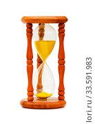 Купить «Wooden hourglass isolated on the white background», фото № 33591983, снято 28 мая 2020 г. (c) age Fotostock / Фотобанк Лори