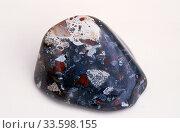 Купить «Brecciated jasper cabochon. Jasper is an aggregate of microparticles of quartz. Sample.», фото № 33598155, снято 3 апреля 2020 г. (c) age Fotostock / Фотобанк Лори