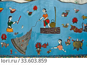 Madhubani style mural painting ( Patna, India). The Madhubani ( or Mithila) art is a traditional art form practised in northern India and southern Nepal. Стоковое фото, фотограф Franck Metois / age Fotostock / Фотобанк Лори
