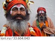 Hindu ascetics ('sadhu') ( Varanasi, India). Редакционное фото, фотограф Franck Metois / age Fotostock / Фотобанк Лори