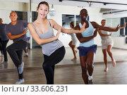 Купить «dancing people practicing vigorous swing», фото № 33606231, снято 30 июля 2018 г. (c) Яков Филимонов / Фотобанк Лори