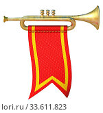 Trumpet with red flag 3D render illustration isolated on white background. Стоковое фото, фотограф Zoonar.com/Milic Djurovic / easy Fotostock / Фотобанк Лори