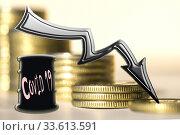 """Купить «,, Covid 19 """"  и черная стрелка на фоне денег . Концепция кризиса в добывающих производствах .», фото № 33613591, снято 15 июня 2020 г. (c) Сергеев Валерий / Фотобанк Лори"""