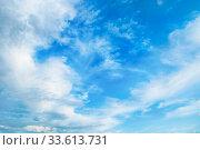 Купить «Blue sky background. Picturesque colorful clouds lit by sunlight. Vast sky landscape panoramic scene», фото № 33613731, снято 16 июля 2019 г. (c) Зезелина Марина / Фотобанк Лори