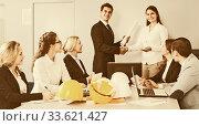 Купить «Business handshake at negotiations in office», фото № 33621427, снято 25 мая 2020 г. (c) Татьяна Яцевич / Фотобанк Лори
