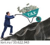 Businessman pushing tax wheelbarrow uphill. Стоковое фото, фотограф Elnur / Фотобанк Лори