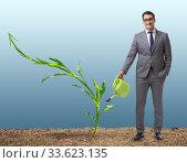 Купить «Businessman in new business concept», фото № 33623135, снято 27 мая 2020 г. (c) Elnur / Фотобанк Лори