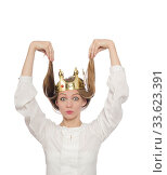 Woman queen wearing crown isolated on white. Стоковое фото, фотограф Elnur / Фотобанк Лори