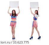 Купить «Woman boxer in uniform with US symbols», фото № 33623775, снято 14 июня 2013 г. (c) Elnur / Фотобанк Лори