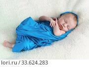 Маленький новорожденный ребенок спит в синей пеленке на белом одеяле. Стоковое фото, фотограф Наталья Гармашева / Фотобанк Лори