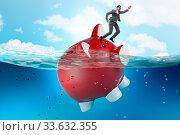 Купить «The businessman in debt concept with piggybank», фото № 33632355, снято 27 мая 2020 г. (c) easy Fotostock / Фотобанк Лори