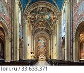 Купить «Интерьер церкви Людвигскирхе в Мюнхене, Германия», фото № 33633371, снято 30 мая 2017 г. (c) Михаил Марковский / Фотобанк Лори
