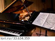 Купить «Score for violinist and blurry piano in a darkened concert hall», фото № 33634359, снято 18 марта 2020 г. (c) Евгений Харитонов / Фотобанк Лори