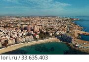 Купить «Aerial panorama of Torrevieja cityscape. Costa Blanca. Spain», фото № 33635403, снято 10 марта 2020 г. (c) Alexander Tihonovs / Фотобанк Лори