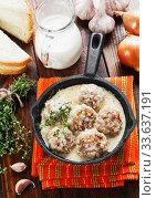 Купить «Meatballs with rice in a creamy sauce», фото № 33637191, снято 16 января 2020 г. (c) Надежда Мишкова / Фотобанк Лори