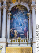 The Presentation of Our Lady in the Temple, painted by Luca Giordano. Santa Maria della Salute, Saint Mary of Health, commonly known simply as the Salute. Venice, Veneto, Italy, Europe. Стоковое фото, фотограф Marcelino Ramírez / age Fotostock / Фотобанк Лори