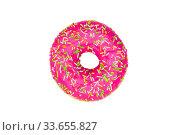 Розовый пончик на однотонном белом фоне. Стоковое фото, фотограф Александр Дубровский / Фотобанк Лори