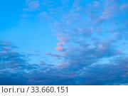 Купить «Blue sky background. Picturesque colorful clouds lit by sunlight. Vast sky landscape scene», фото № 33660151, снято 15 июля 2019 г. (c) Зезелина Марина / Фотобанк Лори