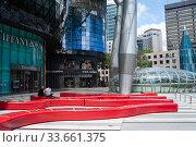 Купить «Singapore, Republic of Singapore, Safe Distancing Measures by means of taped areas on seat beams», фото № 33661375, снято 2 апреля 2020 г. (c) Caro Photoagency / Фотобанк Лори