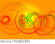 Купить «Holyday glass transparent rainbow curved spiral and circles over yellow orange Abstract Background. horizontal Illustration», фото № 33663551, снято 28 мая 2020 г. (c) age Fotostock / Фотобанк Лори