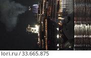 Vertical footage Cruise Liner Norwegian Jewel reverse sailing Sea Port at dark night. Time lapse. Редакционное видео, видеограф А. А. Пирагис / Фотобанк Лори