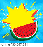 Купить «Boom pop art explosion speech bubble and juicy red watermelon in foreground. Mockup for comic book and manga. Text banner, poster. Vector bright dynamic cartoon illustration. Template for your design», иллюстрация № 33667391 (c) Dmitry Domashenko / Фотобанк Лори