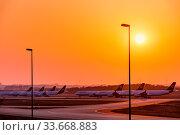 Die Flotte der deutschen Lufthansa geparkt auf der Landebahn Nordwest am Flughafen Frankfurt am Main. Стоковое фото, фотограф Zoonar.com/Michel Lask / age Fotostock / Фотобанк Лори