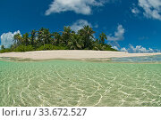 Idyllic tropical island landscape, Bijoutier island, Seychelles Indian Ocean, 2005. Стоковое фото, фотограф Willem  Kolvoort / Nature Picture Library / Фотобанк Лори