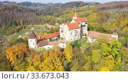 Above view of medieval castle Pernstein. South Moravian region. Czech Republic. Стоковое видео, видеограф Яков Филимонов / Фотобанк Лори