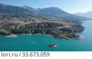 Picturesque landscape of Serre-Poncon Lake in French Alps. Стоковое видео, видеограф Яков Филимонов / Фотобанк Лори