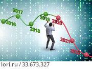 Купить «Businessman in market crash concept», фото № 33673327, снято 6 июня 2020 г. (c) Elnur / Фотобанк Лори