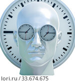 Купить «Time Concept 3D Illustration: Human Head and Time, Business Punctuality, Appointment Stress, Deadline Pressure, Overtime, Time is Running Up, Timing, Punctual Schedule, Management, Countdown Concept», фото № 33674675, снято 4 июля 2020 г. (c) age Fotostock / Фотобанк Лори