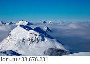 Купить «Snowy winter French Alps, ski resort Flaine, Grand Massif area within sight of Mont Blanc, Haute Savoie, France», фото № 33676231, снято 4 августа 2020 г. (c) easy Fotostock / Фотобанк Лори