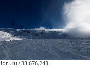 Купить «Snowy winter French Alps, ski resort Flaine, Grand Massif area within sight of Mont Blanc, Haute Savoie, France», фото № 33676243, снято 2 июня 2020 г. (c) easy Fotostock / Фотобанк Лори