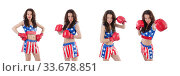 Купить «Woman boxer in uniform with US symbols», фото № 33678851, снято 14 июня 2013 г. (c) Elnur / Фотобанк Лори
