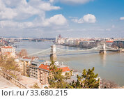 Panoramic overview of Budapest on foreground the Parliament building and chain bridge. Стоковое фото, фотограф Алеся Дмитриенко / Фотобанк Лори